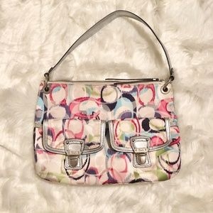 Coach multicolor trademark pattern shoulder purse